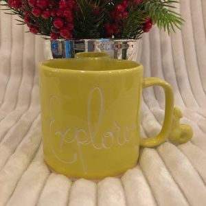 Anthropologie Yellow Explorer Squirrel Mug NWOT